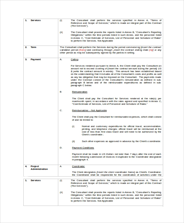 sample contract for consulting service