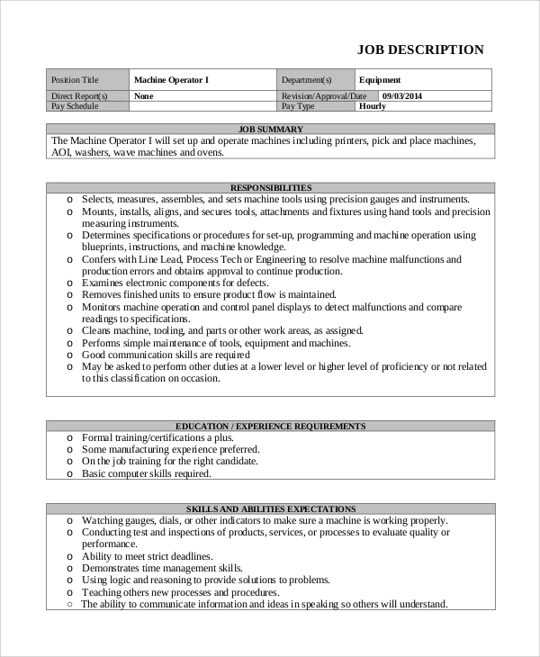 Sample Machine Operator Job Description 8 Examples In Pdf