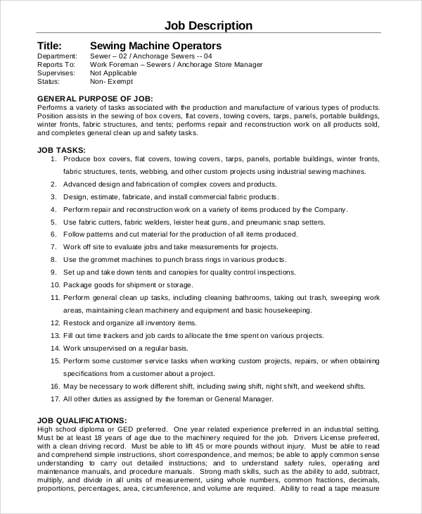 Sample Machine Operator Job Description - 8+ Examples in PDF on job cv, job description, job vacancies, job people, job recommendation form, job experience, job career opportunities, job position template, job porfolio, job portfolio, job design, job training, job network, job offer letter, job works, job review, job duties, job career objective, job employment, job responsibilities template,