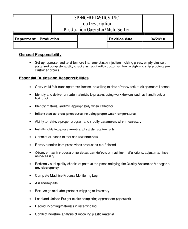 resume templates forklift operator - Duties Of A Forklift Operator