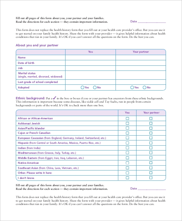 Sample Medical History Form - 10+ Examples In Word, Pdf