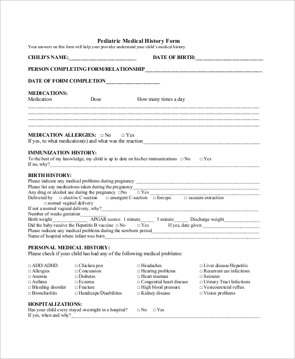 Sample Medical History Form 10 Examples in Word PDF – Sample Medical History Form