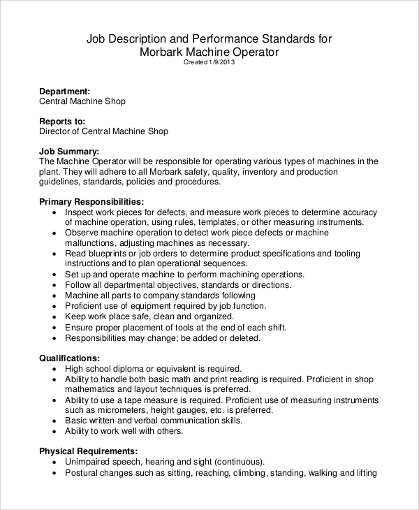 Sample Machine Operator Job Description   Examples In Pdf
