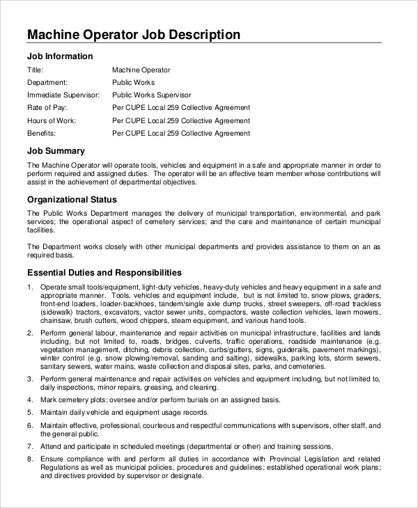 Sample Machine Operator Job Description - 8+ Examples in PDF