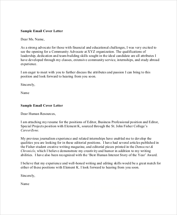 sample email cover letter with resume