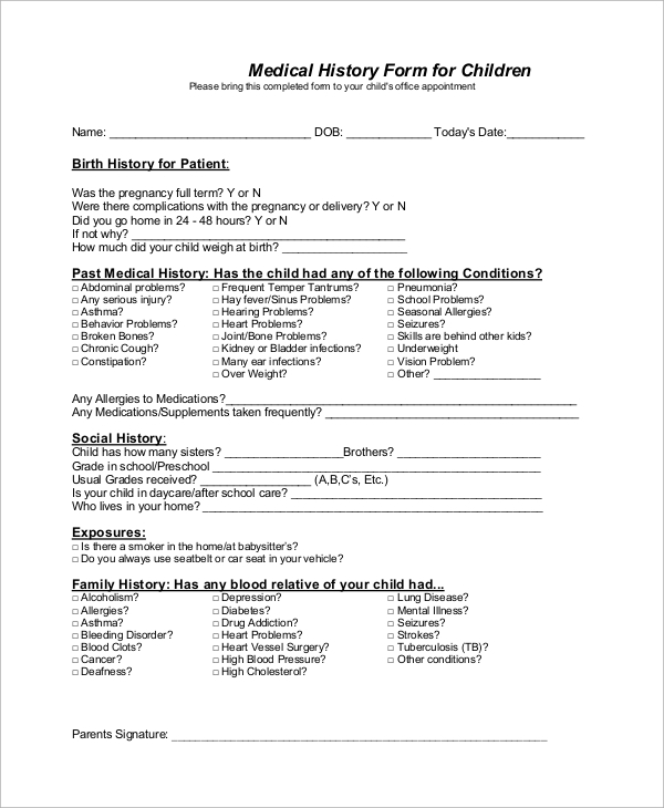 Sample Medical History Form   Examples In Word Pdf