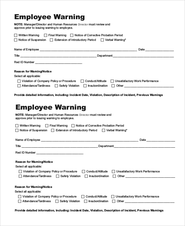 Sample Employee Warning Notice - 9+ Examples In Pdf, Word