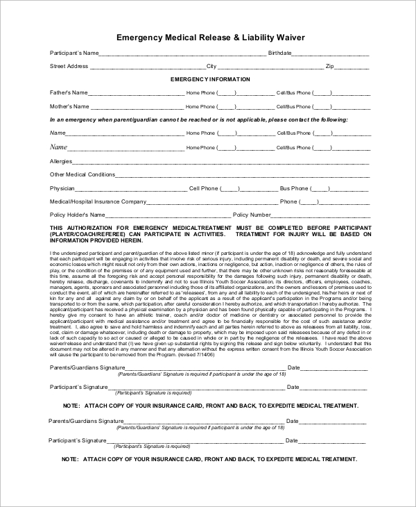 Medical Waiver Form Emergencymedicalliabilitywaiverform Sample