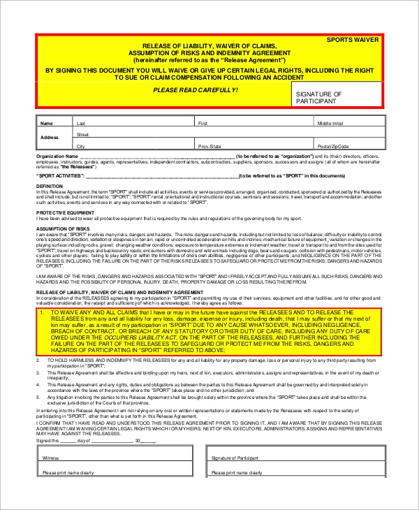 Sports Liability Waiver Form Example  Legal Liability Waiver Form