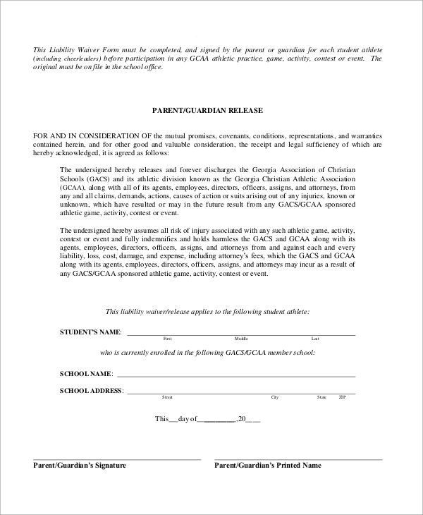Sample Liability Waiver Form 10 Examples in Word PDF – Waiver of Liability Form Free