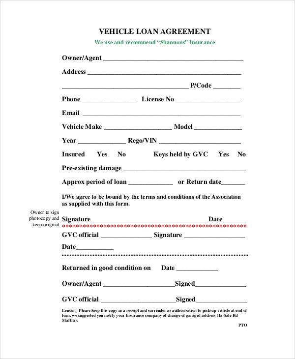 Sample Loan Agreement Form - 10+ Examples In Word, Pdf
