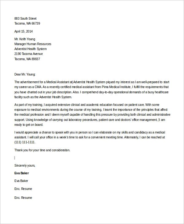 Cover Letter Template Medical Assistant