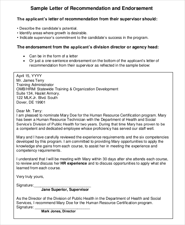 Sample Letter of Recommendation For Employment 7 Examples in PDF