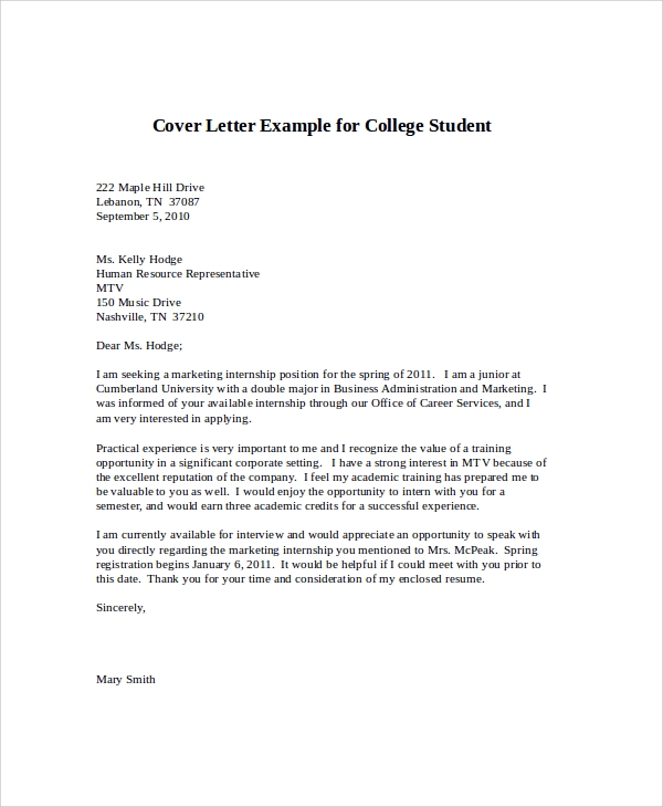 Sample Cover Letter For Internship   Examples In Word Pdf