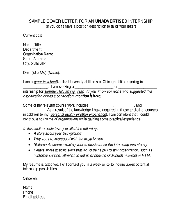 cover letter format for internship - Writing A Cover Letter Format