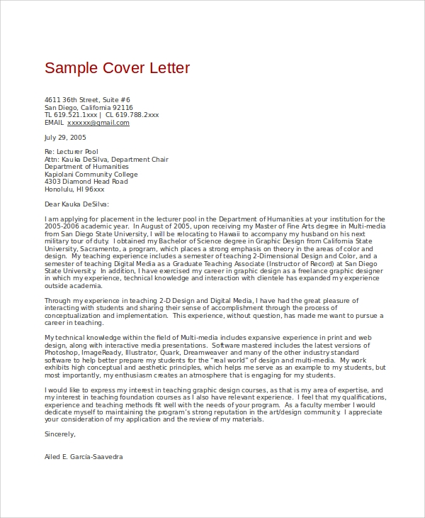 cover letter examples contract specialist