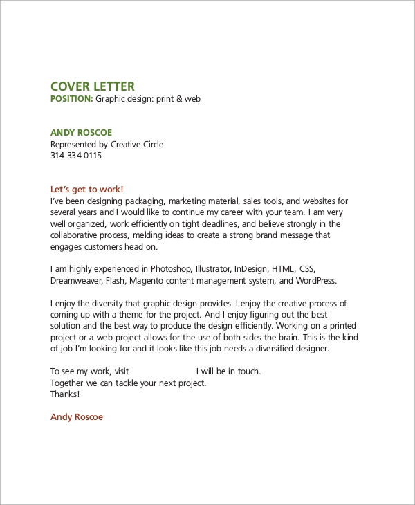 Sample Graphic Design Cover Letter 8 Examples in Word PDF – The Best Cover Letters Samples