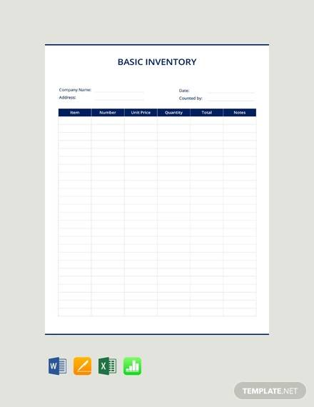 basic inventory template