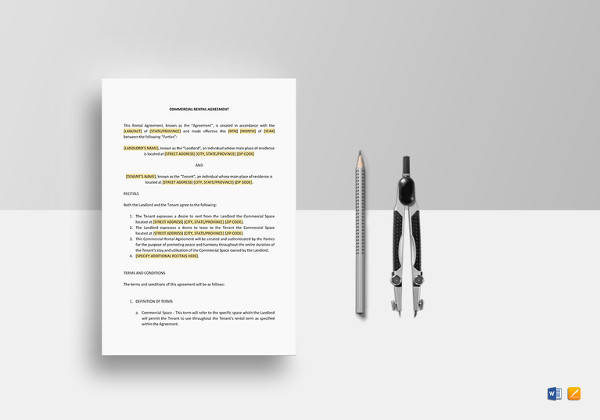 commercial rental agreement template in ipages
