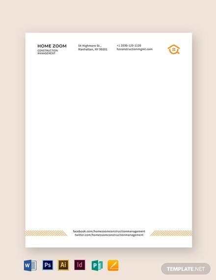 construction management letterhead template