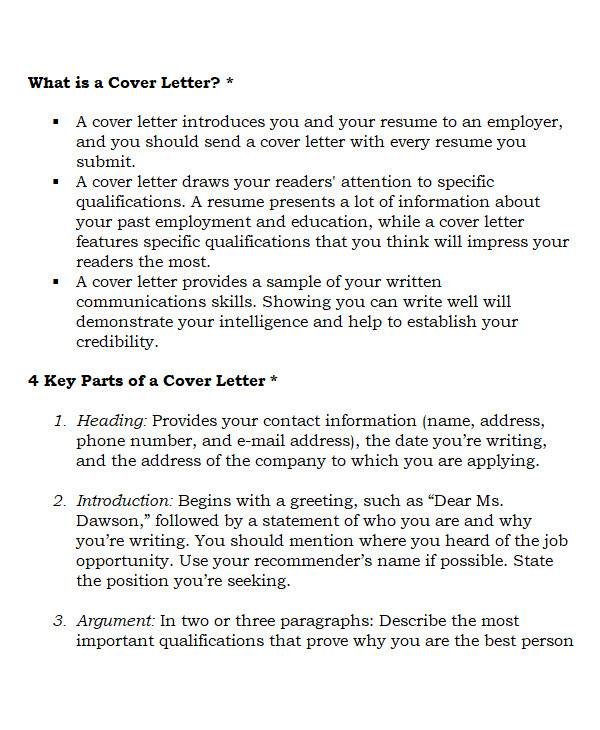 cover letter introduction in ms word