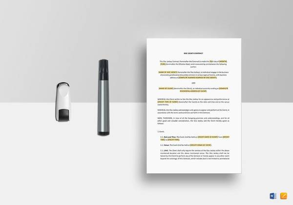 dj contract template word