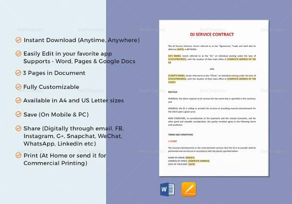dj service contract template