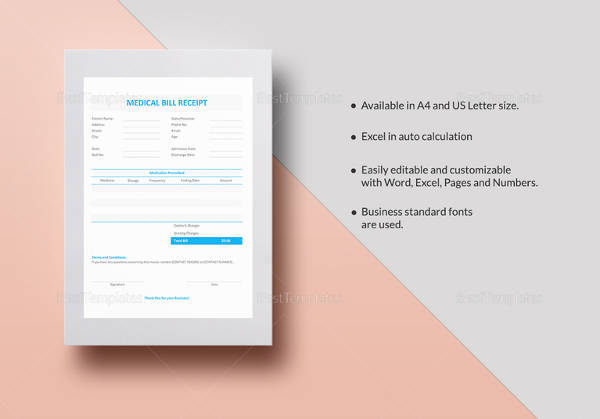 Medical Bill Receipt Template  Bill Payment Receipt Format