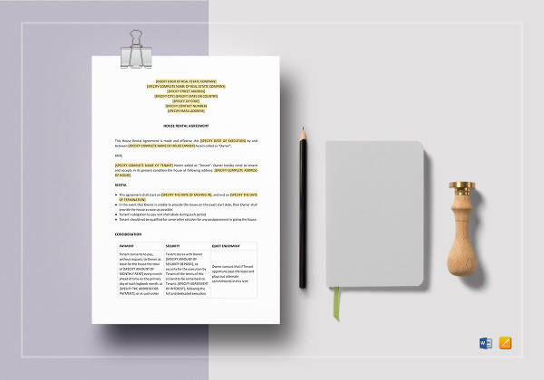 printable house rental agreement template