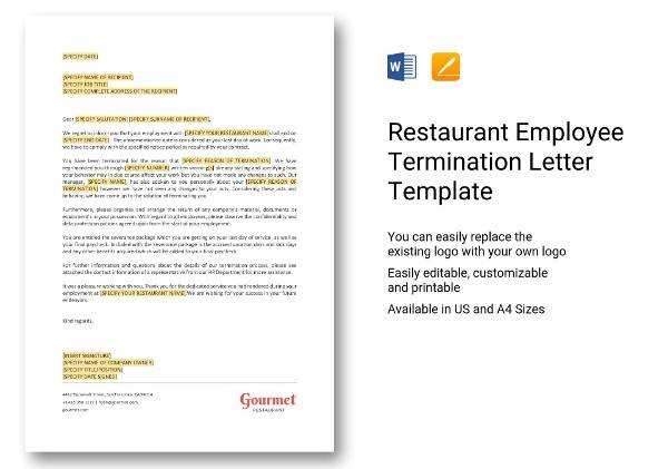 9 sample employee termination letters word pdf pages sample restaurant employee termination letter template spiritdancerdesigns Images