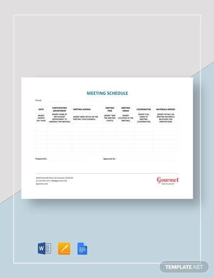 restaurant meeting schedule template