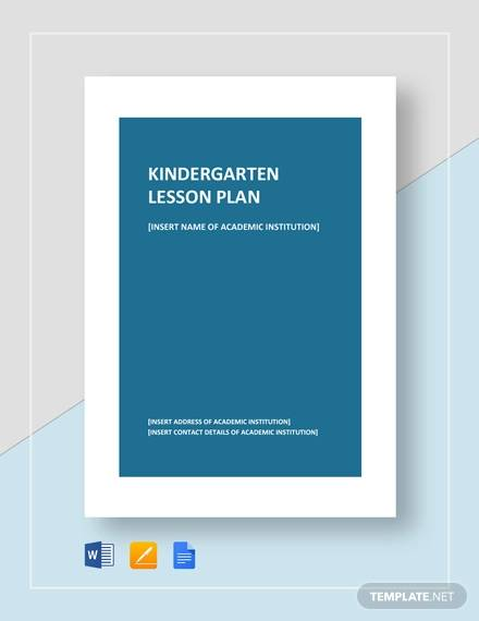 sample kindergarten lesson plan