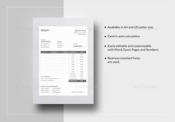 sample receipt word template