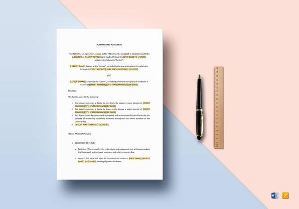sample room rental agreement template