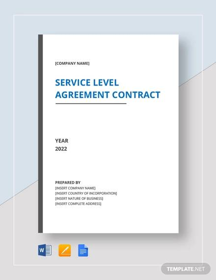 service level agreement contract template