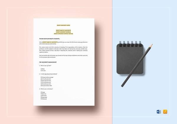 student questionnaire template