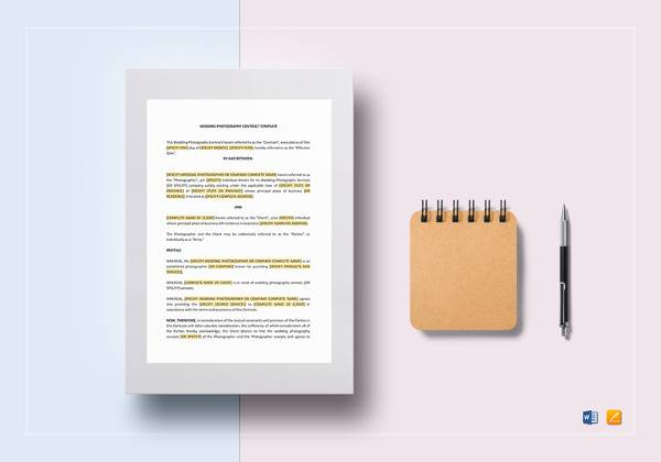 wedding photography contract template in word