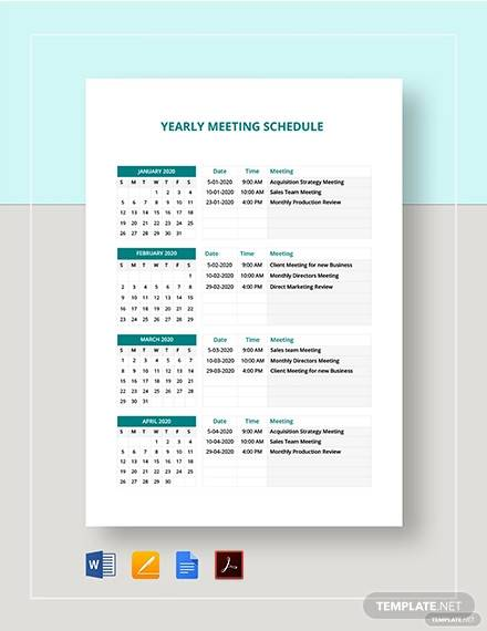 yearly meeting schedule template