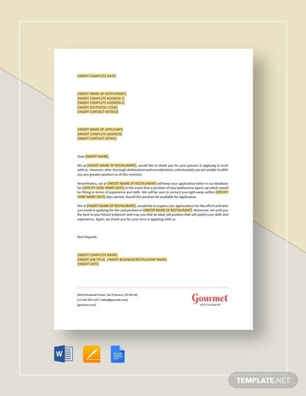 Sample Applicant Rejection Letter | Sample Rejection Letter 10 Examples In Word Pdf