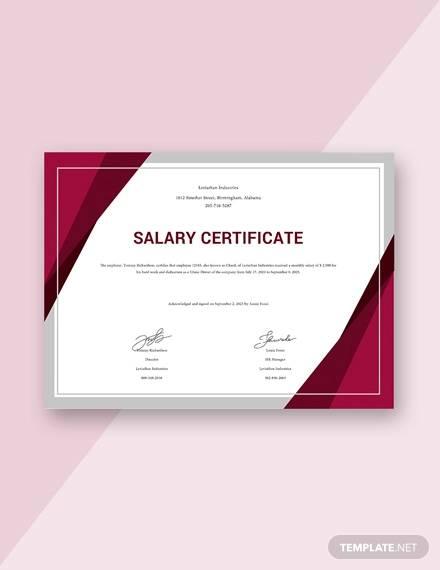 free salary certificat format