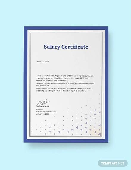 free salary certificate