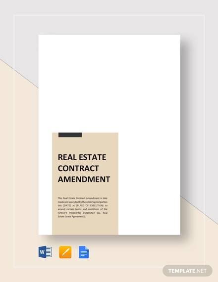 real estate amendment contract