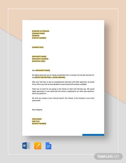 rejection letter interviewed applicants