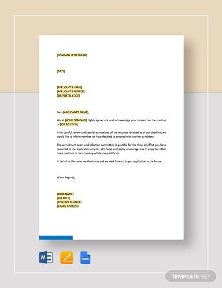 Sample Rejection Letter - 10+ Examples in Word, PDF