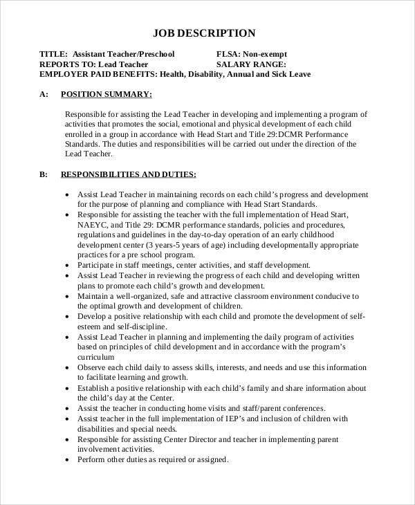 FREE 12+ Sample Teacher Job Description Templates In MS