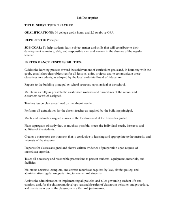 sample teacher job description