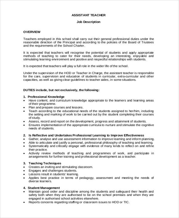 school job description