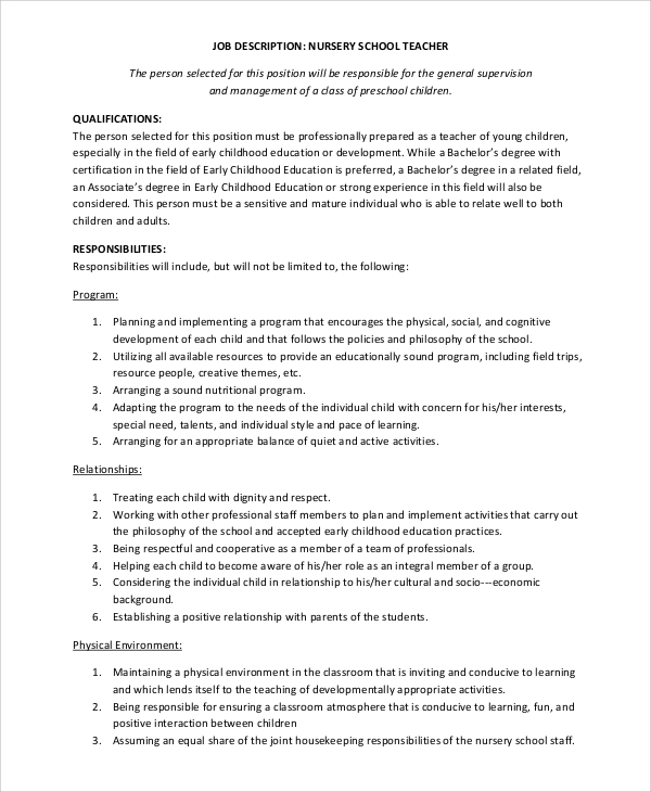 Sample Teacher Job Description   Examples In Word Pdf