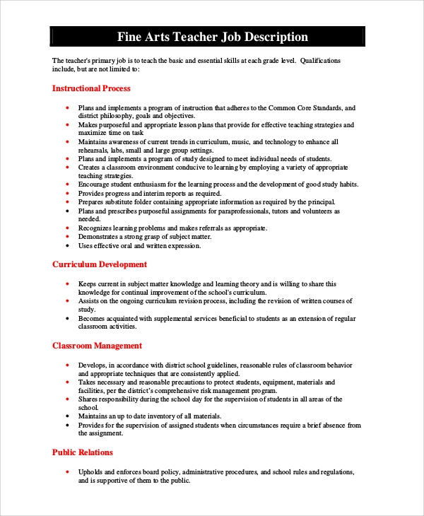 arts teacher job description