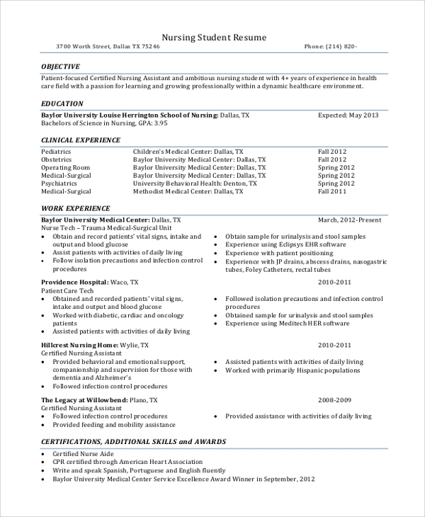 sample nursing student resume examples in word pdf - Example Student Resumes